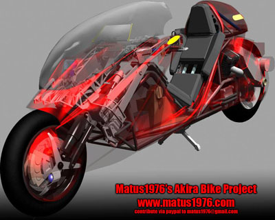 Matus1976's Akira Bike Project - see through rendering of the production prototype of Kaneda's motorcycle